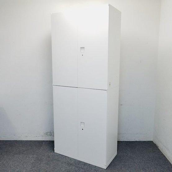 【4台ロット入荷】綺麗な鍵付きホワイトキャビネットです。中古 ホワイト 書庫 棚 リサイクル