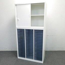 【1台入荷!】【ホワイト】珍しい引き戸+浅型クリスタルトレイ書庫|オカムラ製レクトライン|