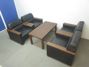 【応接室にオススメ!】■オカムラ製 高級革張りソファー&テーブルセット