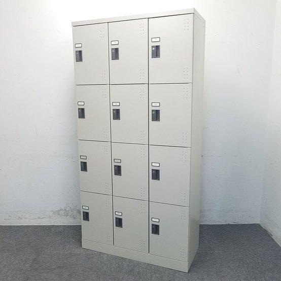 【2台入荷】コクヨ製|3列x4段の12か所収納シューズボックス!中板付きタイプで2段収納ができます☆ 中古ロッカー リサイクル 高級