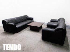 TENDO/天童木工 本革 ソファ セット & アルフレックス スクエアセンターテーブル T-7186+T-7185