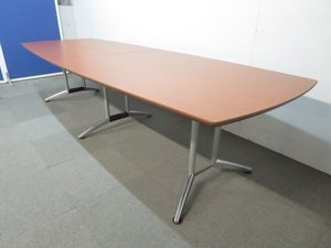 【ハイグレードなデザイン!】■大型会議テーブル(W3000mm)ブラウン【高級オフィス家具】