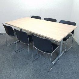 【セット商品!】おしゃれなナチュラル天板! 会議室や休憩室におすすめです! スタッキングチェア6脚+ミーティングテーブル