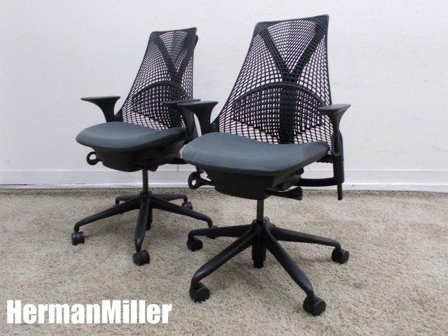 HermanMiller/ハーマンミラー セイルチェア 肘付2脚セット グラナイト AS1YA23HA-0017 N2BKBBBKBK9110