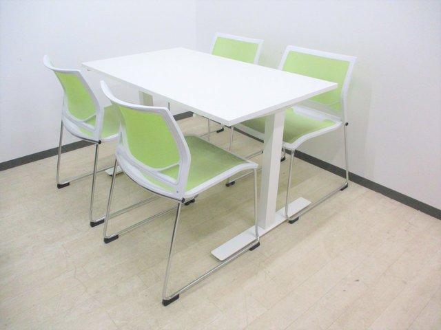 【お洒落なミーティングセット!】上下昇降テーブルとスタッキングチェアのセット販売!