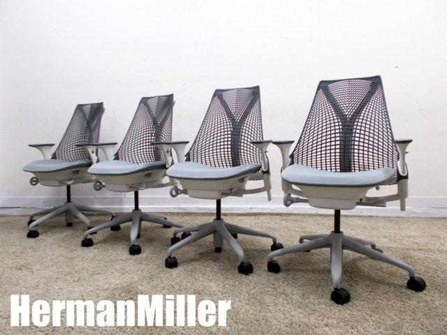 HermanMiller/ハーマンミラー セイルチェア 肘付 4脚セット マーキュリー AS1YA23HA N265BBSGSG9105 2017年製