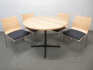 【木目デザインが安らぎのひと時を提供!】■サークルテーブル(W900mm)&リフレッシュチェア4脚セット ■☆状態良好!ナチュラルカラー!