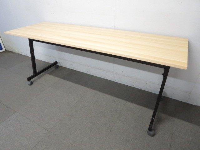 【トレンドの木目デザイン!】■サイドスタックテーブル W1800×D600mm