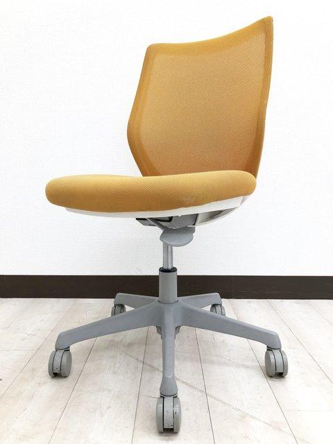 [爽やかなオレンジカラー]オフィスチェア 肘なし[最近のトレンドカラーをオフィスに導入いかがですか?]