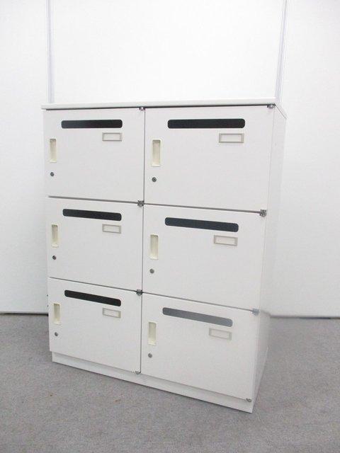 イトーキ製6人用メールロッカー 多種多様に収納タイプを分けられます。【シリンダータイプ】