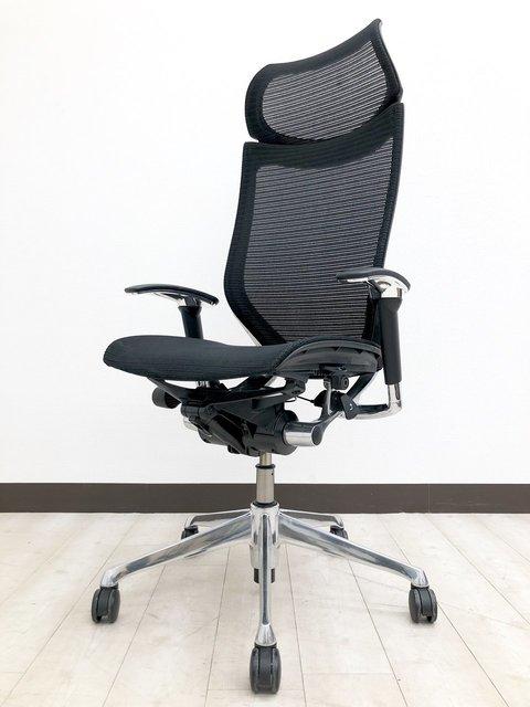 [大型ヘッドレスト付]オフィスチェア メッシュチェア 肘付き オカムラ バロンチェア