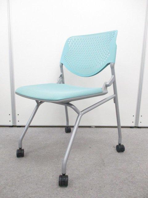 【4脚セット商品】ミーティングチェアルナシリーズ!!爽やかなブルーから落ち着いた会議スペースを演出。                         ルナ                                      中古