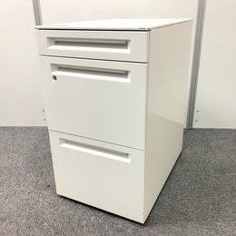 【デスク横収納】【人気のホワイト色】オカムラ製 ホワイト色 たっぷり収納 *H680