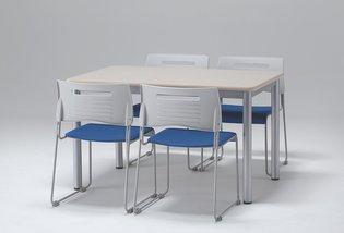 【ミーティングテーブルW1200/D900】天板のソフトエッジがオフィスだけでなく、施設などでも人気です。