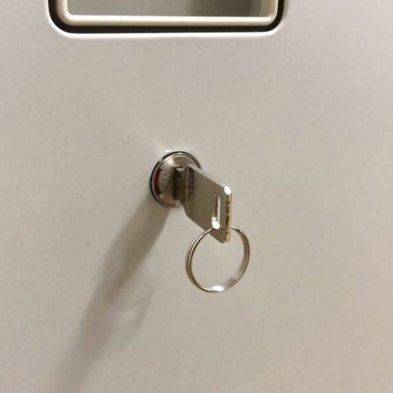 【人気のレクトラインのライトスモークカラー】 部材完備・鍵付き フラットなデザインがお洒落                         レクトライン                                      中古