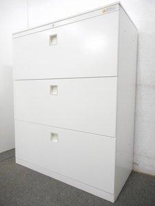【省スペースに】定番サイズより小ぶりな引き出し型書庫【天板付き】