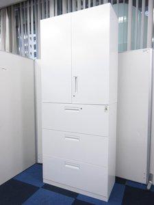オフィスを明る印象に!両開き+3段ラテラルの上下書庫セット入荷!コクヨ/エディア/ホワイト
