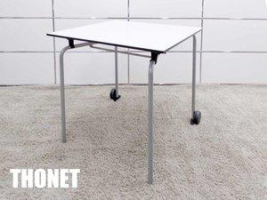 THONET/トーネット フォールディングテーブル S1080  キャスター付 スクエアデスク W790 ホワイト アルフレッド・ハベリ