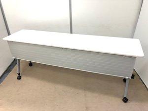 【今需要が高まってます】省スペースの折り畳み式テーブル/幕板付き/奥行450mm