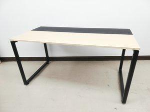 【テレワークおススメ】PC操作楽々ナイス木目ワークテーブル※ブラック天板部分滑り止め◆プラス製