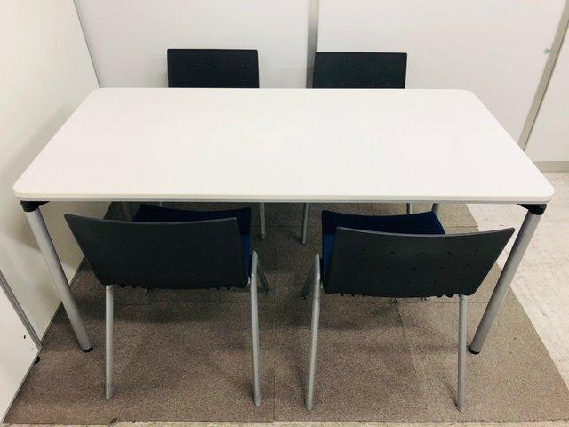 ルナ【4名様セット】コクヨのミーティングテーブルと内田のネスティングチェアのコラボセット                         その他シリーズ                                     中古