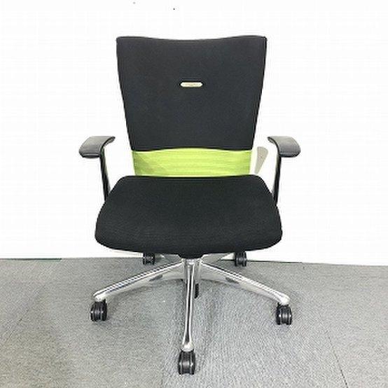 okamura/フィーゴ】オフィスチェア/肘付き/ブラック×グリーンのオシャレなチェア【関西倉庫在庫】                         フィーゴ                                      中古