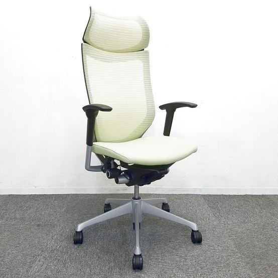 【良い椅子は腰を守る投資です!】■オカムラ製 バロンチェア ピスタチオグリーン 可動肘 固定ヘッドレスト付【エクストラハイバック】                         バロン                                      中古