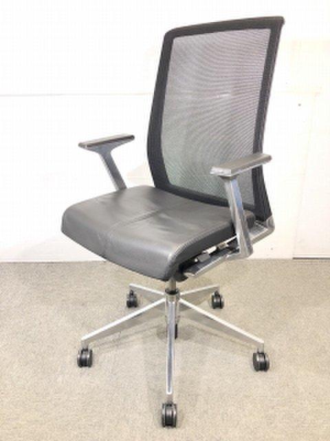 【在庫入替】ヘイワ―ス ベリーチェア 座面は本革仕様 アルミフレームが美しいオフィスチェア
