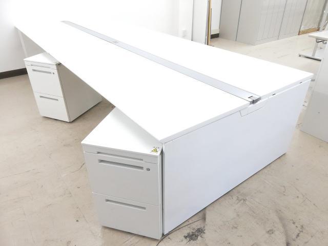 【幅3200mm】さわやかホワイト天板フリアドデスクワゴン4台セット※天板色:ホワイト(MG99)◆オカムラ製