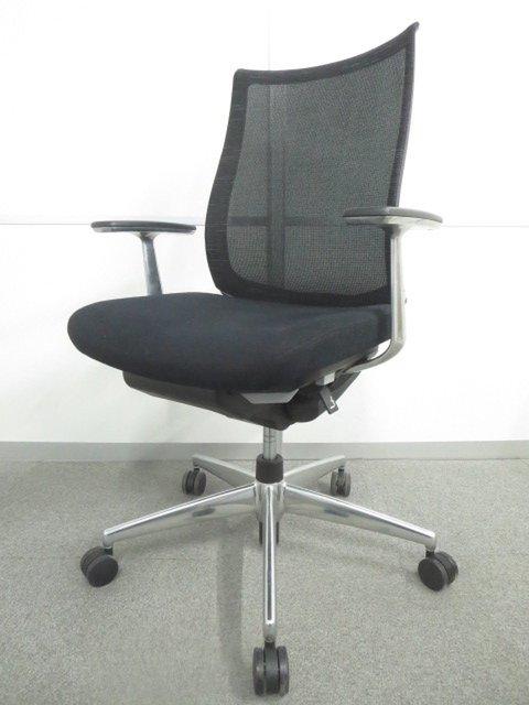 【上質な座り心地!】■コクヨ製 ベゼルチェア 肘付 ブラック【様々な着座姿勢を最適にサポート!】
