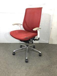 【在庫入替】オカムラ製 自宅用事務椅子 肘付きオフィスチェア ハンガー付き メッシュ 肘付