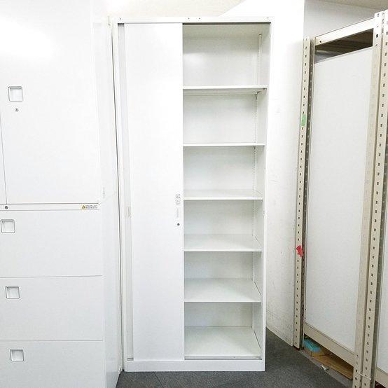 【1台限定】収納に便利な移動書庫入荷!中古 可動式 スライド キャビネット ホワイト レクトライン                         レクトライン                                      中古