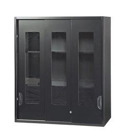 【収納家具】上置き/ガラス引き違い書庫【事務用品】【ブラック】