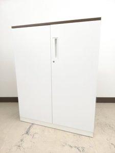 【人気のホワイト】コクヨ製 エディア 両開き書庫【ブラウン天板付き】