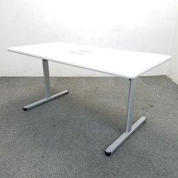 【2台限定】人気の配線ダクト付きテーブル入荷!中古 テーブル 会議 ミーティング ホワイト オフィス