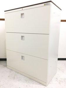お洒落な書類キャビネット入荷|天板付き|ホワイト×ブラウン|カウンターとしても使えます
