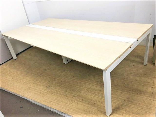 【価格見直しました】【早い者勝ち】木目天板×ホワイトオープン脚が開放的な空間を演出 ウチダ アルセナ 現行シリーズ   W2800(W1400+W1400)×D1400
