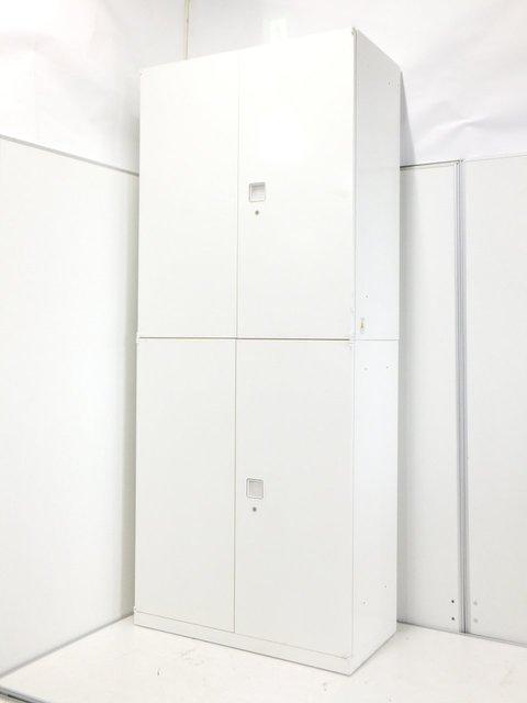【大人気シリーズ入荷!】オカムラ製 レクトライン 両開き+両開き書庫【清潔感のあるホワイト】【大容量収納】