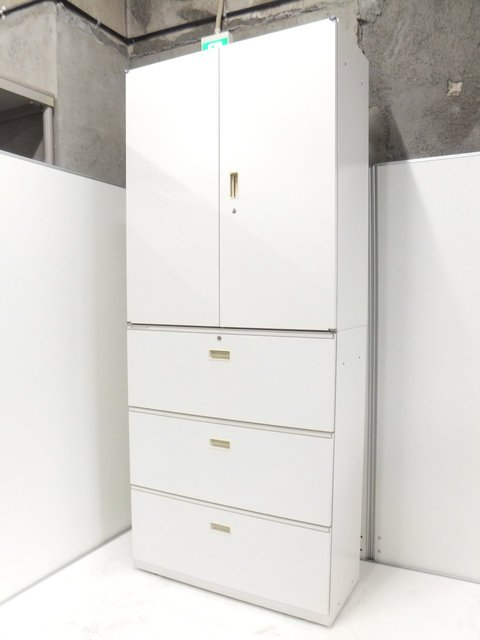【オフィスを明るくするホワイト】イトーキ製 シンライン 書庫セット(3段ラテラル+両開き)【大容量収納】【シリンダー錠】