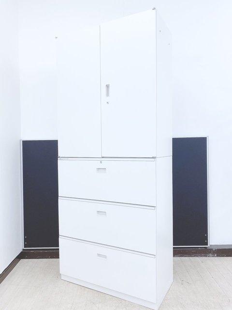 【2台入荷】明るく美しい上下書庫(上段両開き+下段三段)ホワイトカラー◆イトーキ製