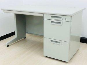 【W1200mm】 まだまだ需要のあるニューグレー色の片袖机! 急な増員に便利! オフィスの必需品です! プラス社製LAシリーズ