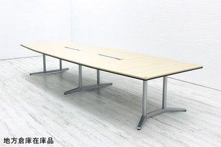 【W4000:大型テーブル】【天板:ネオウッドライト】オカムラ製 ラティオⅡ 大型テーブル【OI】遠方外部倉庫在庫の為、配送費・納品日はお問い合わせください