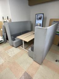 【中古】【ファミレスブース】【グレー】【1点もの】【レア】【個室ブース】【4~6人掛け用】【デザインオフィス】※テーブルは含まれません