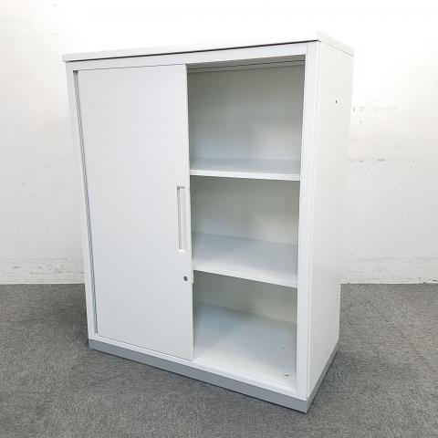 【今がチャンス!】状態良好品がロット入荷!■イナバ製 引戸書庫 ホワイト 天板付き