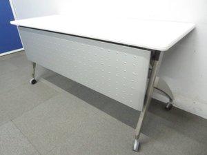 【スッキリ整理できる平行スタッキングタイプ!】■ウチダ サイドスタックテーブル ■W1500×D450mm 幕板パネル付タイプ