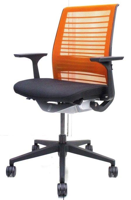 【残り2脚!】スチールケース(Steelcase)シンク(Think chair)/色:オレンジ×ブラック/ハイバック/固定肘