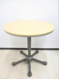 【ペダル式昇降テーブル】オカムラ/ナチュラルカラー【丸型テーブル】