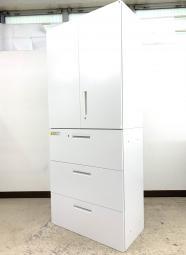 【上下書庫セット】オフィス収納の必須アイテム! ウチダ製書庫セット ホワイト