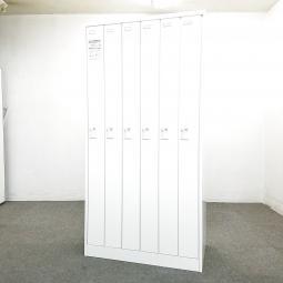【美しいホワイト!絶対お得な未使用品!】■オカムラ製 6人ロッカー ダイヤル錠タイプ【ダイヤルロッカー】