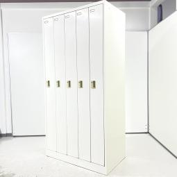 【使いやすい!国内製スチールロッカー】■オカムラ 5人用ロッカー FZシリーズ ホワイト